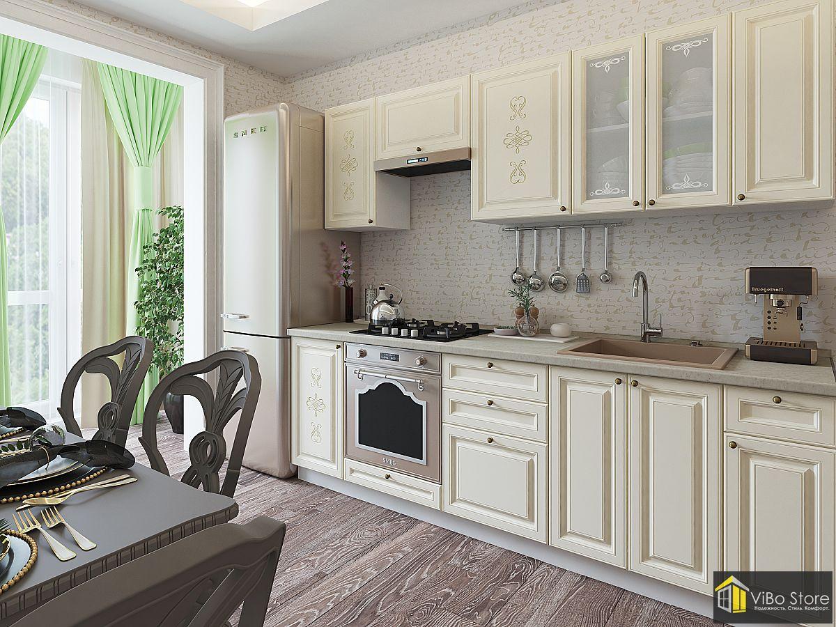 Кухня в классическом стиле ванильного цвета