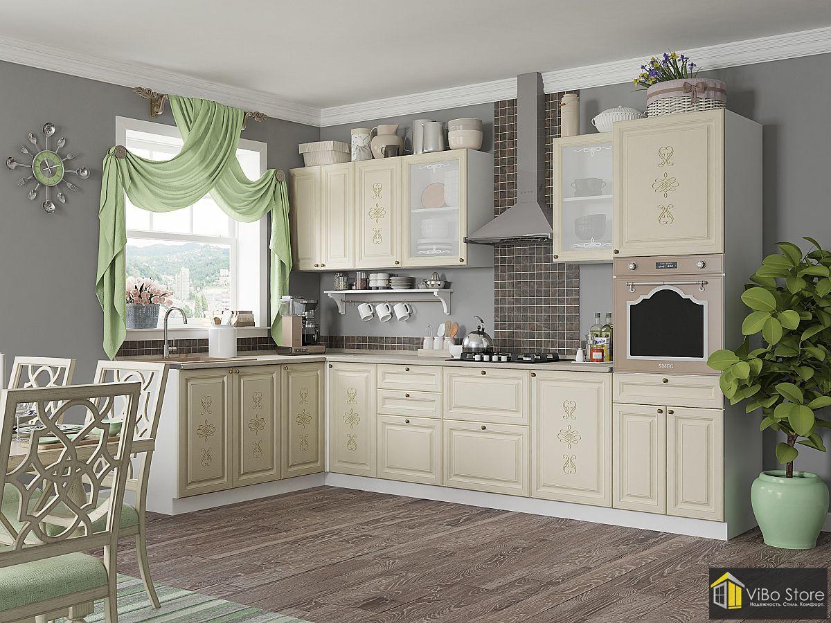 Угловая классическая кухня цвета ваниль