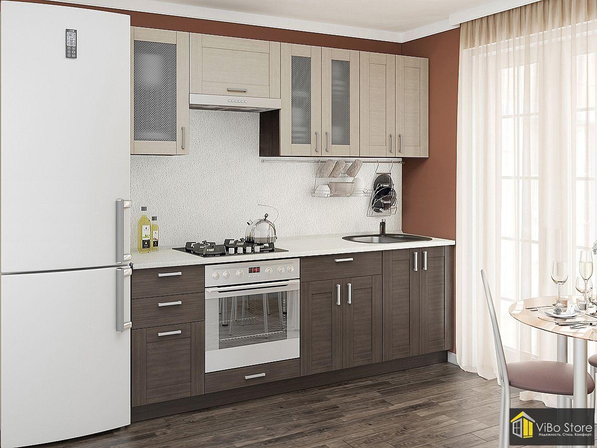 Кухня эконом класса фасад венге с серой столешницей