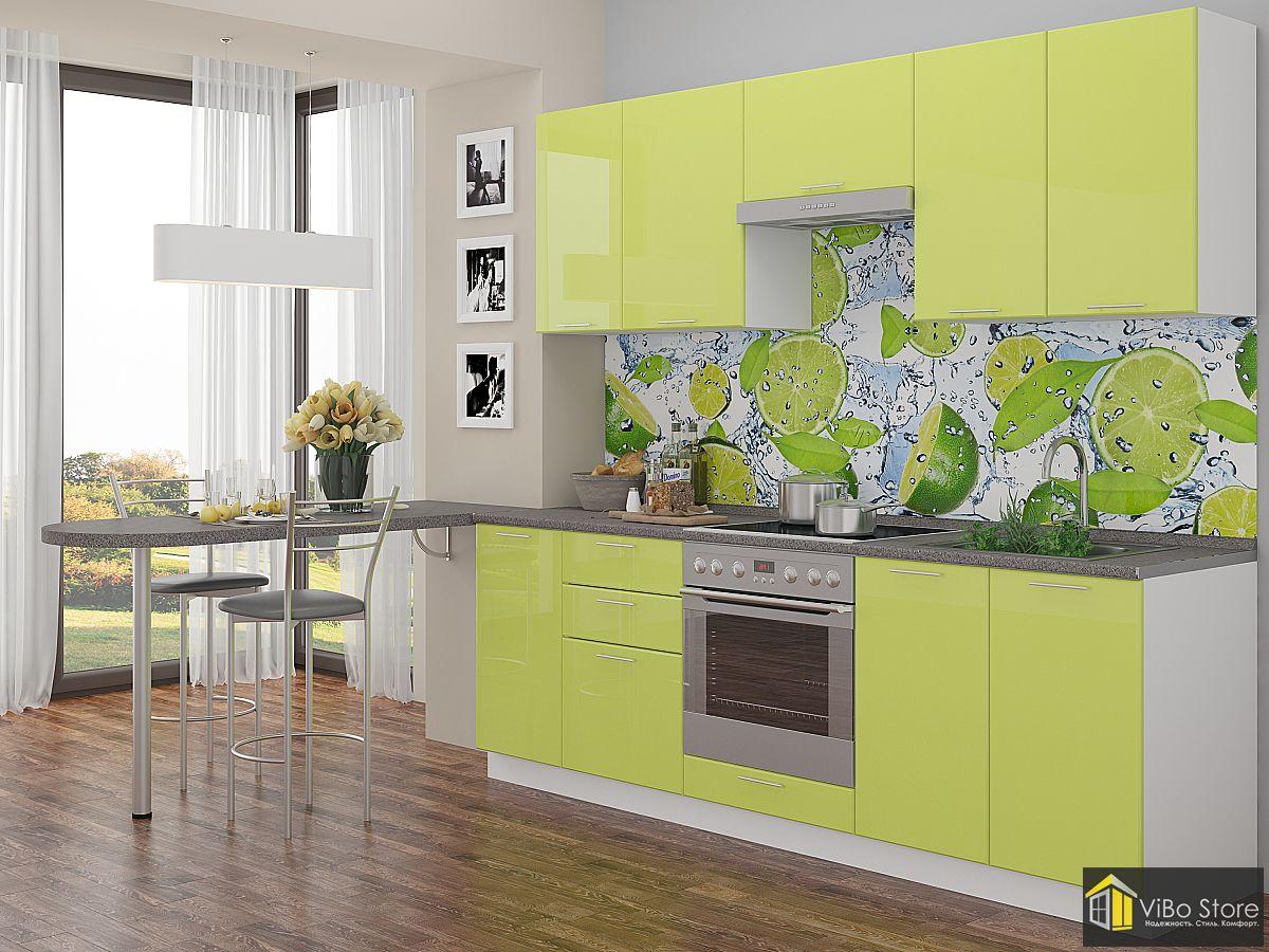 Угловая яркая кухня с фасадом лайм глянец
