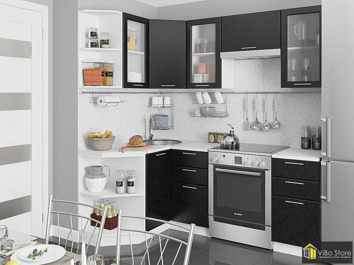 Небольшая кухня черный металлик 2140*1290 ЛДСП