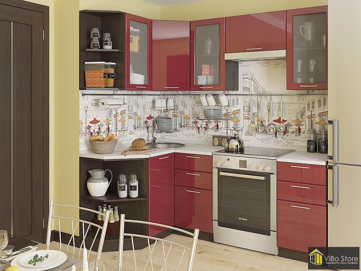 Хорошая современная кухня фасад бордовый глянец
