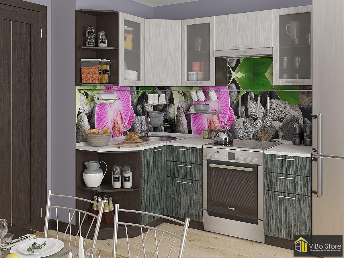 Современная кухня с белой столешницей, серый металлик дождь