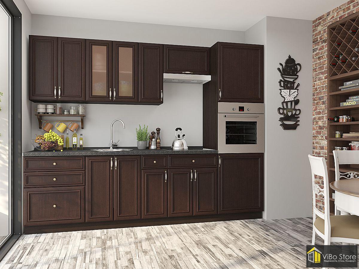 Темная прямая кухня на 5 кв. метров