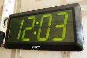 VST-780-2 Часы электронные, зеленые. Большие настенные