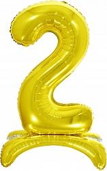Шар (32''/81 см) Цифра, 2 на подставке, Золото, 1 шт. в упак.