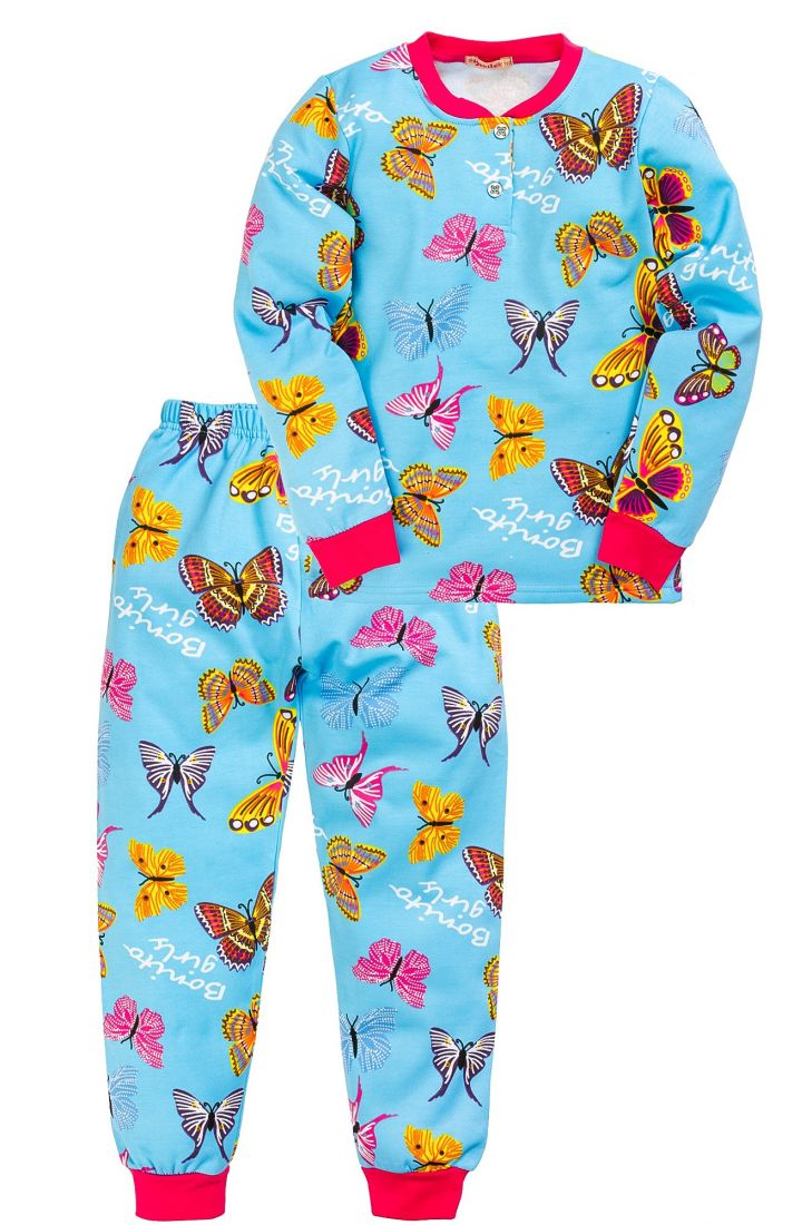 Пижама с начесом для девочки Бабочки