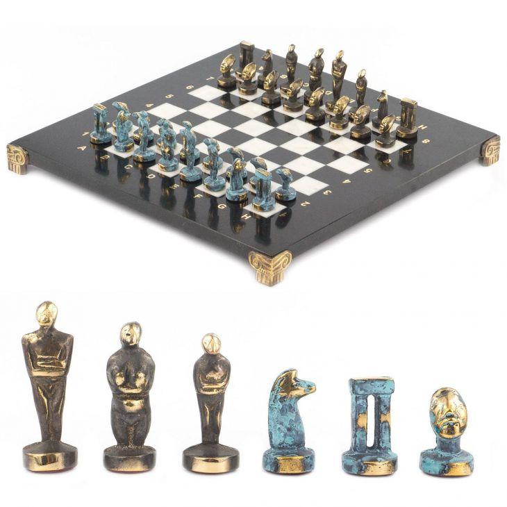 Шахматы Идолы, доска мрамор, змеевик 28 х28 см