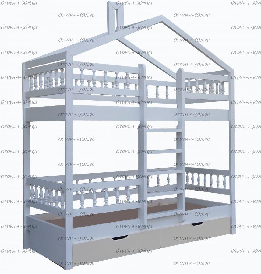 Кровать двухъярусная Домик Roof №2 (двухъярусная кровать домик)