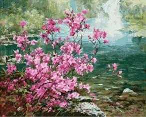 Картина по номерам «Цветущий куст у воды» 40x50 см