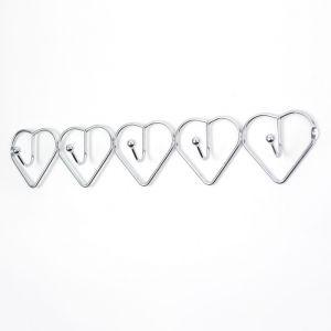 "Вешалка на 5 крючков 38х7х4 см ""Сердца"" цвет серебро 2998525"