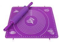 Силиконовый коврик для раскатывания теста, 50х70 см., малиновый