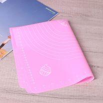 Силиконовый коврик для раскатывания теста, 50х40 см., розовый