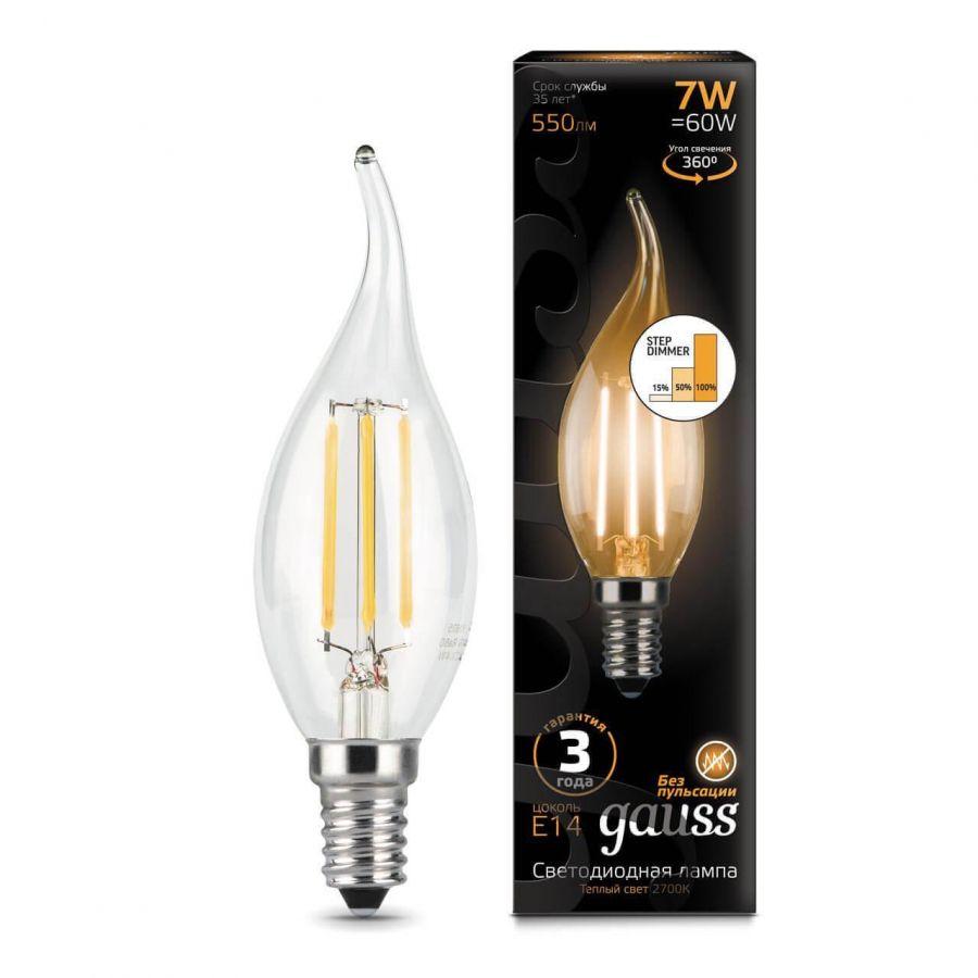 Лампа светодиодная филаментная диммируемая Gauss E14 7W 2700K прозрачная 104801107-S
