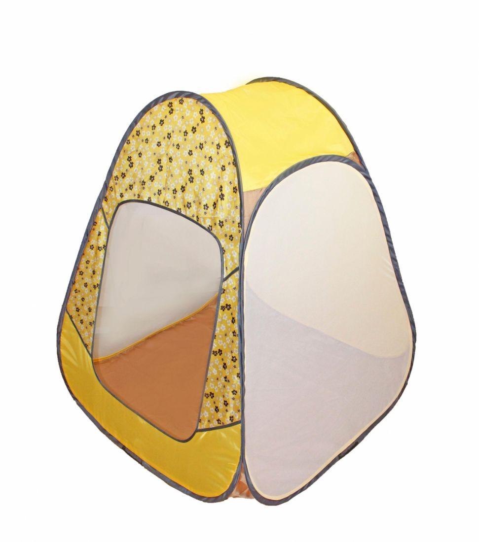 Палатка BELON FAMILIA ПИ-004-КМ-ТФ-ЦЖ Конусная 4гр., принт цветы, жёлтая