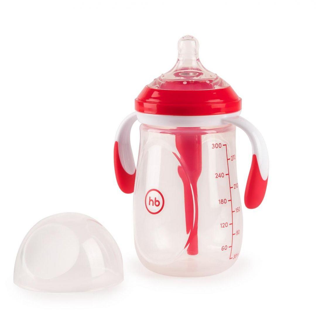 Бутылочка HAPPY BABY 10020 антиколиковая с ручками и силиконовой соской ruby, 300 мл.