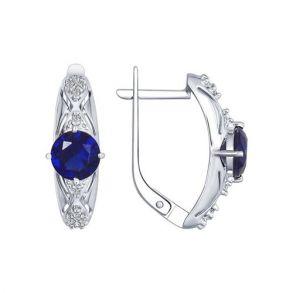 Серьги из серебра с бесцветными и синими фианитами 94022393 SOKOLOV