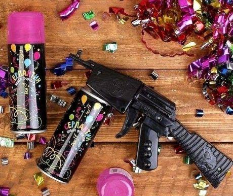 Спрей-серпантин с пистолетом  розовый
