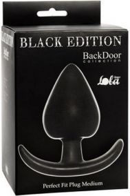 Анальная пробка для ношения Lola Toys Back Door Perfect Fit Plug Medium черная, 7*4,8 см