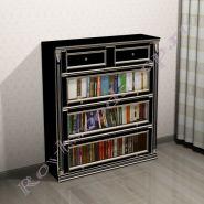 Книжный шкаф Лондон Ли-box  черный с серебряной патиной