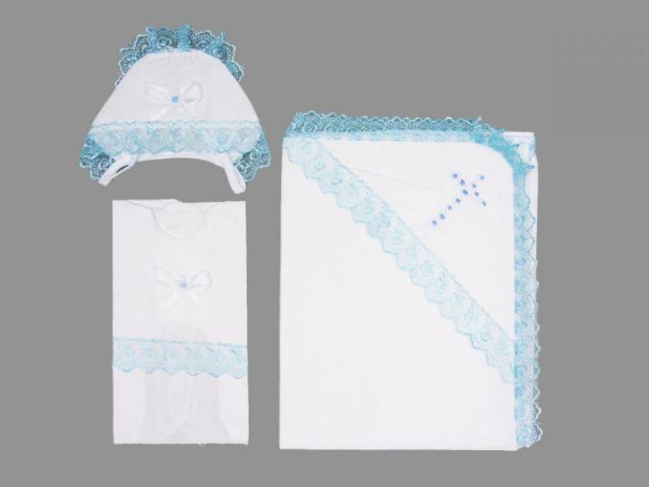Крестильный набор: уголок, чепчик, распашонка (батист голубой)