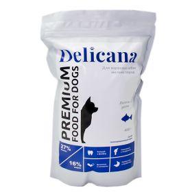 Delicana Сухой корм для собак мелких пород, лосось с рисом. 400гр