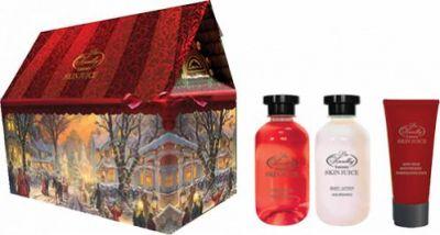 Liss Kroully Skin juice Парфюмерно-косметический подарочный набор NY-1801 Домик Лосьон для тела 270 мл + Гель для душа 270 мл + Маска для рук 75 мл