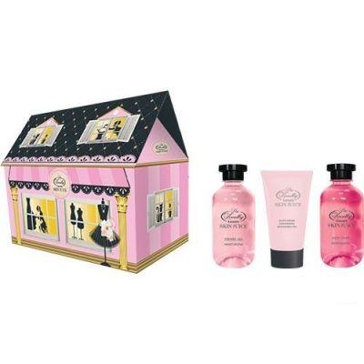 Liss Kroully Skin juice Парфюмерно-косметический подарочный набор NP-1806 Домик Гель для душа 270 мл + Пена для ванн 270 мл + Крем для рук питательный 75 мл