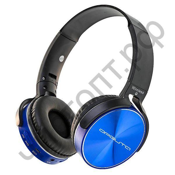 Bluetooth гарнитура стерео OT-ERB39 (OT-450BT) Синий (bluetooth,FM,TF ,аккум ) полноразмер