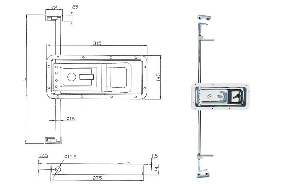 Замок штанговый для ворот под трубу D=16 мм (Арт: 011800S)