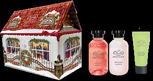 Liss Kroully Skin juice Парфюмерно-косметический подарочный набор Домик Лосьон для тела 270 мл + Пена для ванн 270 мл + Крем для рук 75 мл