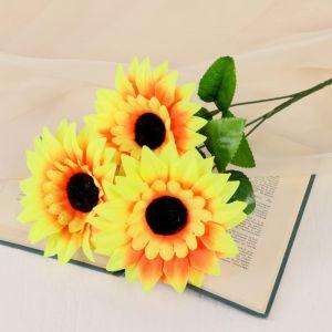 """Цветы искусственные """"Подсолнухи крупные"""" три бутона, 13*57 см, жёлтый   4560210"""