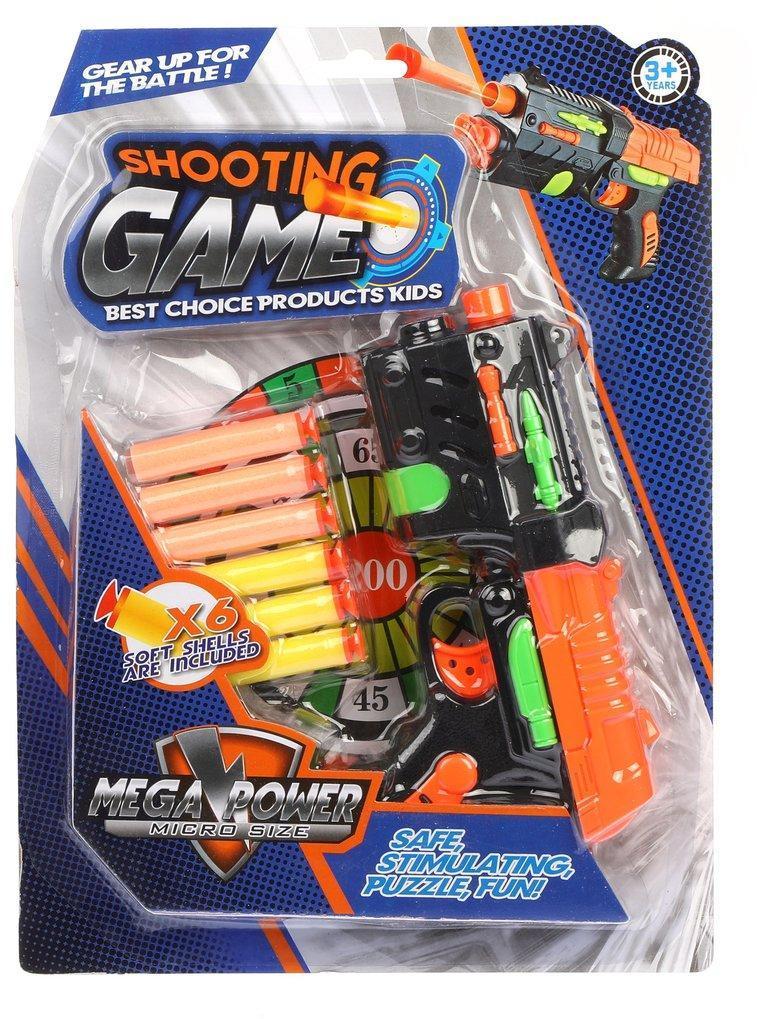 Пистолет с мягкими пулями, в комплекте: м/пули 6шт., блистер