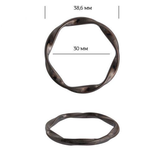кольцо металл 38,6мм спираль черный никель