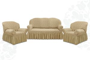 """Комплект чехлов """"Престиж"""" из 3х предметов (трехместный диван и 2 кресла)с оборкой,10034 капучино"""