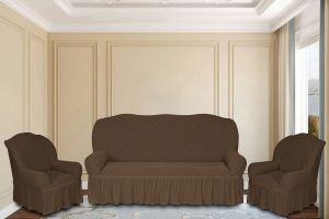 """Комплект чехлов КП311С """"Жаккард"""" из 3х предметов (трехместный диван и 2 кресла), арт.KAR 011-02 A.Kahve"""