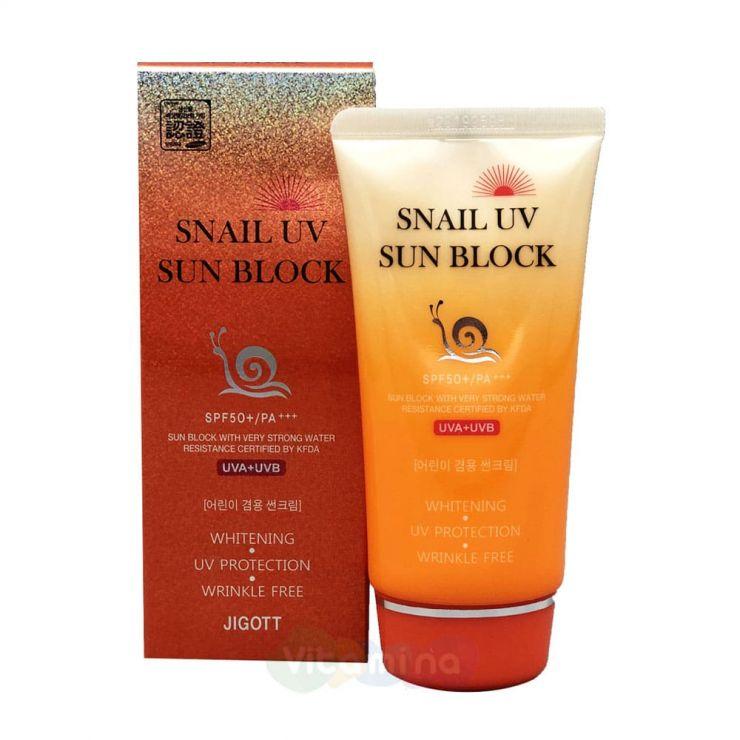Jigott Солнцезащитный крем с улиточным муцином Snail Uv Sun Block Cream v, 70 мл