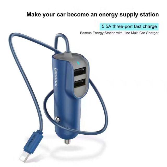 Автомобильное зарядное устройство Baseus Energy Station with Line Multi Car Charger Синие