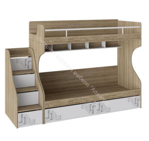 Кровать 2-х ярусная с лестницей приставной с ящиками «Оксфорд» (Ривьера/Белый с рисунком)