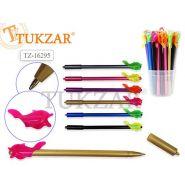 Ручка шариковая Tukzar с насадкой рыбка, синяя 1,0мм, чернила на масляной основе, цвета корпуса в ассортименте
