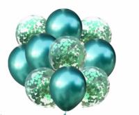 Гелиевые воздушные шары  зеленый хром и конфетти
