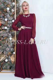 Бордовое вечернее платье в пол с длинными рукавами