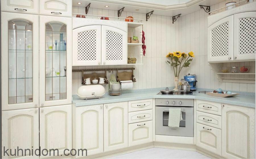Кухня Роза декапе угловая с буфетом