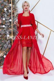 Красное платье-двойка с болеро