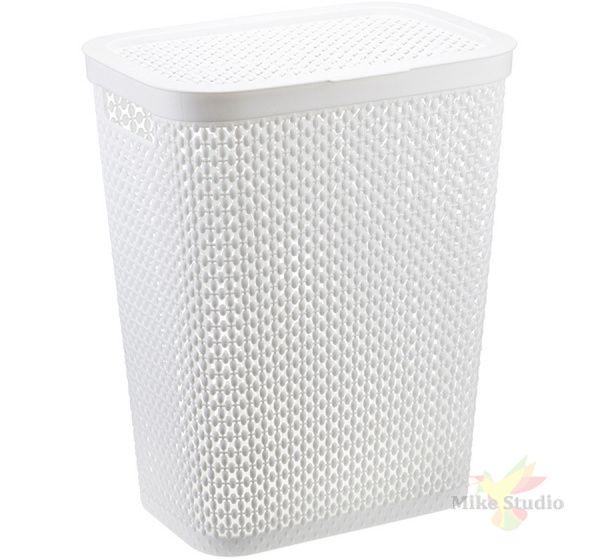 Корзина для белья ПИРУЛА 35 л угловая (белый)