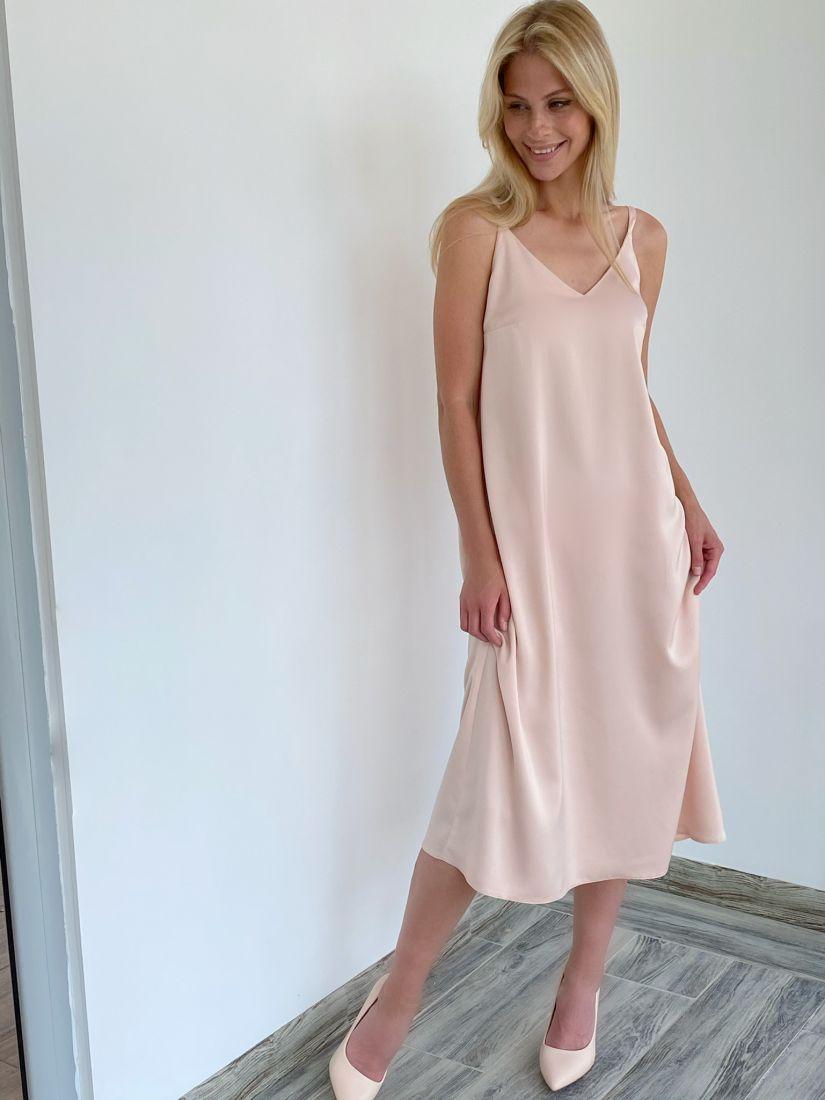 s2104 Платье шёлковое premium в пудровом цвете