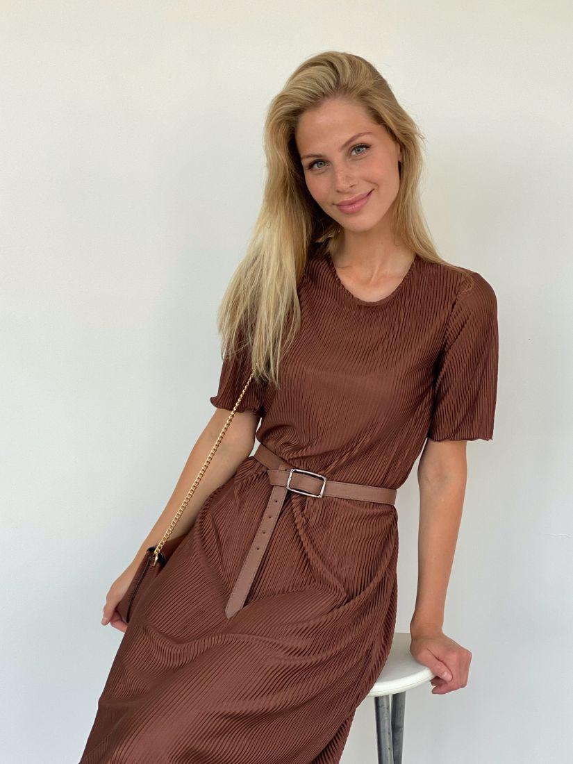 s2118 Платье-гофре свободное удлинённое
