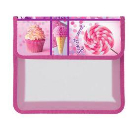 Папка для тетрадей пластиковая на липучке А5ф 1 отделение -Sweets- в индив.упак. AMp_15058 Hatber