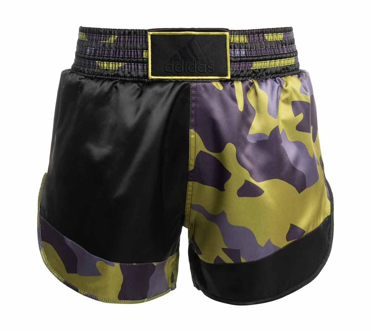 Шорты для кикбоксинга Adidas Kick Boxing Short Satin зелено-черные, размер XL артикул adiSKB01