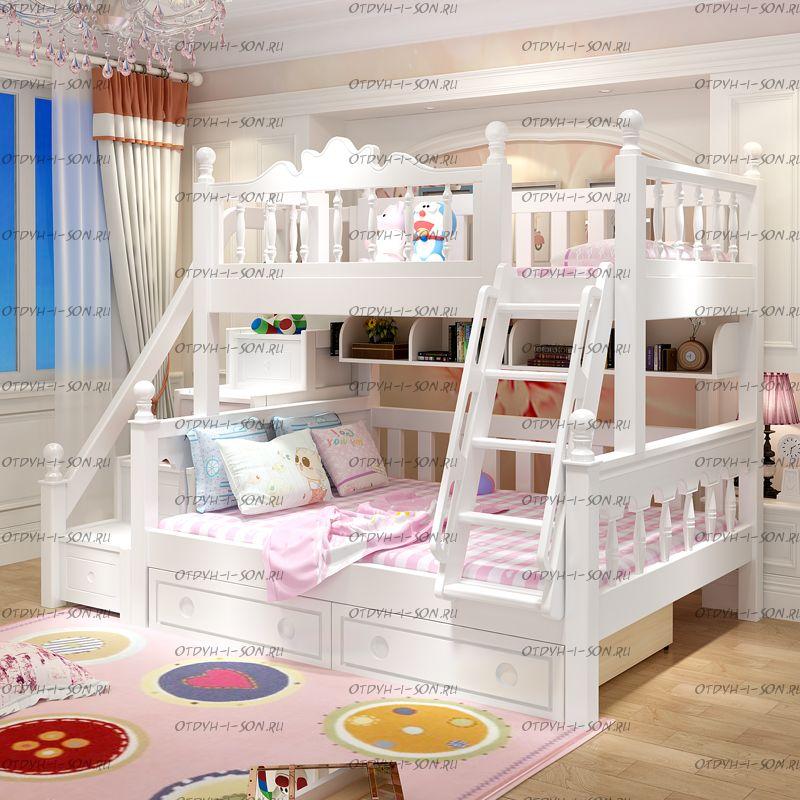 Кровать двухъярусная домик Принцесса Fantasy №IR02
